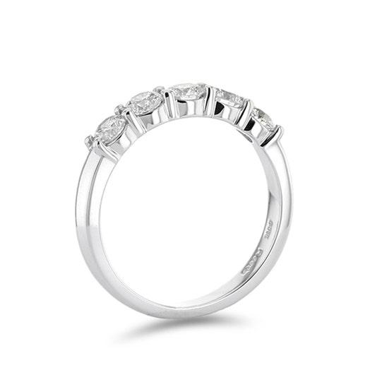 14K White Gold Five Stone Round Diamond Band, 1 Carat TWT