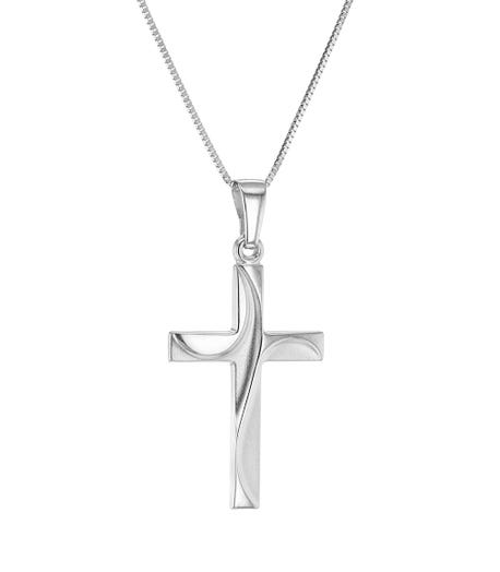 14K White Gold Wave Detailed Cross Pendant Necklace