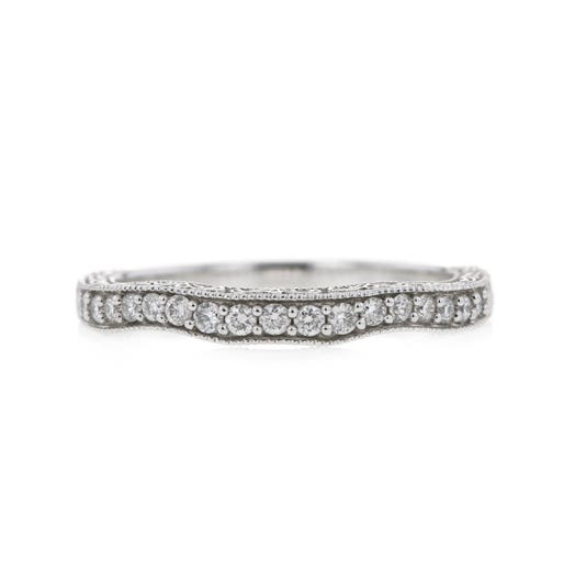 14K White Gold Curved Diamond Band with Milgrain Details, TWT.23