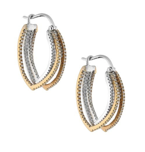 18K Gold Tri Tone Multi-Hoop Earrings with Diamond Accents, TWT 1.26