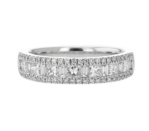 14K White Gold Princess, Baguette and Diamond Round Ring, TWT.75