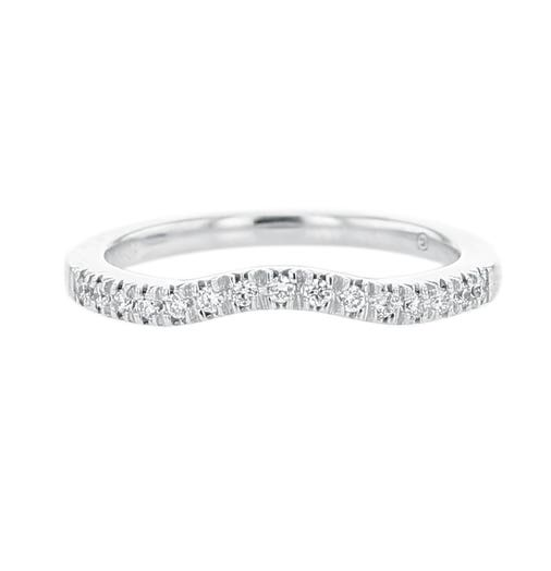 14K White Gold Curved Diamond Band, TWT.12