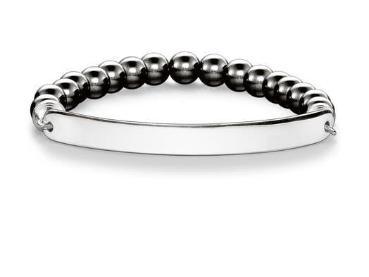 "Thomas Sabo ""Love Bridge"" Hematite and Sterling Silver Engravable Bar Bracelet, Large"