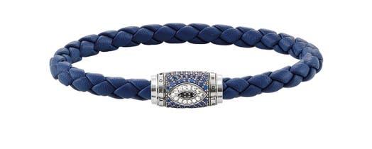 "Thomas Sabo ""Rebel at Heart"" Nazar's Eye Blue Spinel and CZ Leather Bracelet"