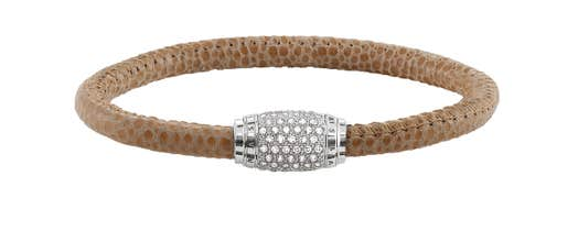 "Thomas Sabo ""Rebel at Heart"" Brown Pave Stingray Leather and White CZ Bracelet, Medium"