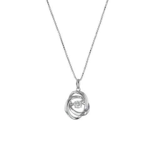 Sterling Silver Interlocking Pendant Necklace with Floating Diamond Round, TWT.18