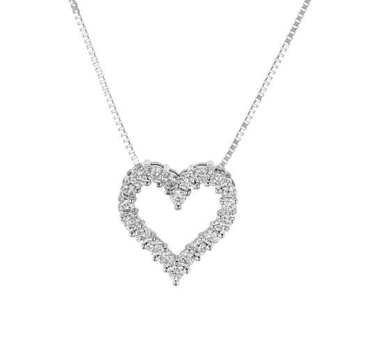 14K White Gold Diamond Heart Pendant Necklace, TWT.29