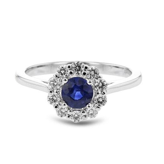 14K White Gold Round Sapphire Ring with Diamond Halo, TDW.30