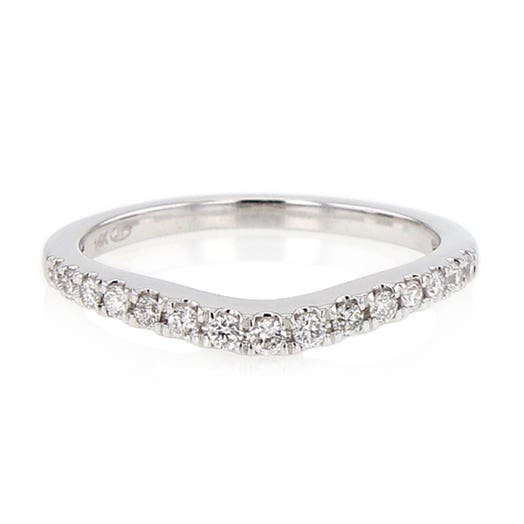 14K White Gold Curved Diamond Band Ring, TWT .23