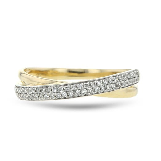 14K Yellow Gold Diamond Crossover Band, TWT.13
