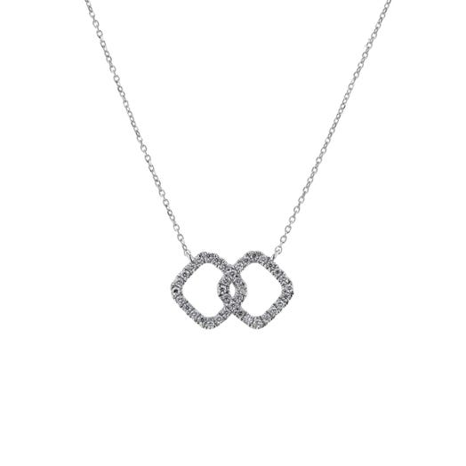 14K White Gold Diamond Interlocking Squares Pendant Necklace, TWT.15