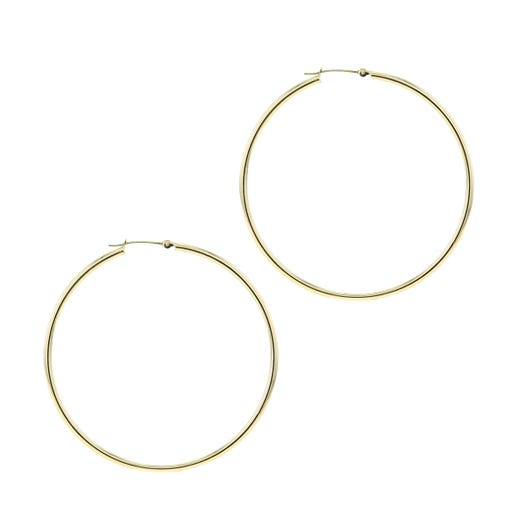 14K Yellow Gold Polished Hoop Earrings, 2""