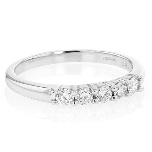 14K White Gold 5 Diamond Band Ring, TWT .35