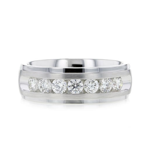 white gold mens band with seven round-cut channel set diamonds