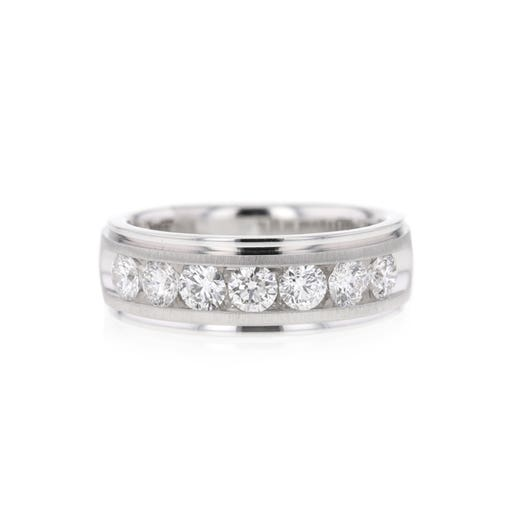 14K White Gold Mens Seven Stone Diamond Band, TWT 1.50