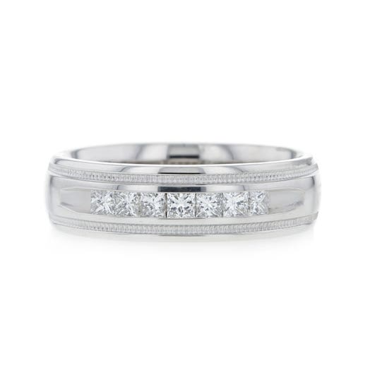 14K White Gold Gentleman's Princess Cut Diamond Band Ring, TWT .50