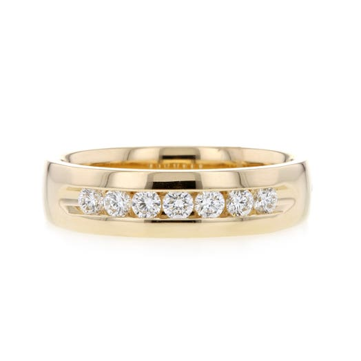 yellow gold mens band with seven round-cut diamonds