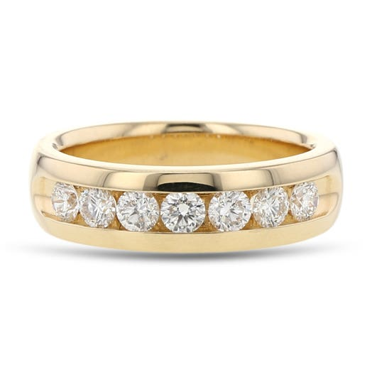 14K Yellow Gold Gentleman's Diamond Band Ring, TWT 1.00