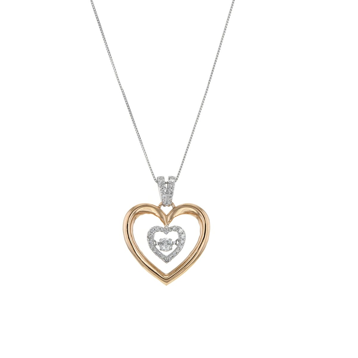Diamond Heart Pendant, 14K Two-Tone, .20CT