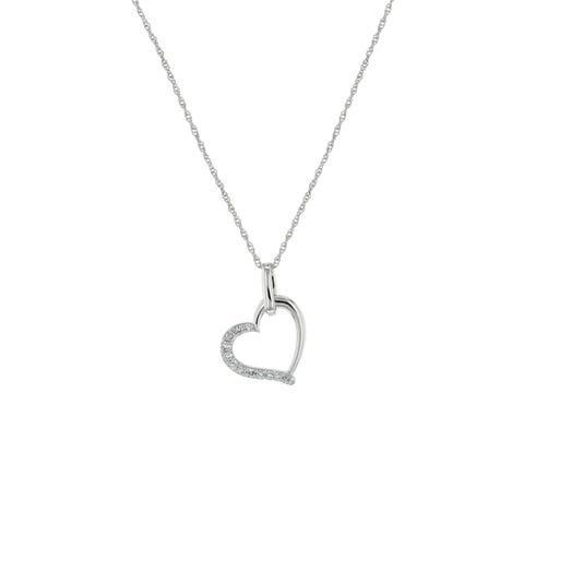 white gold heart shaped pendant with diamond accents suspended from white gold chain