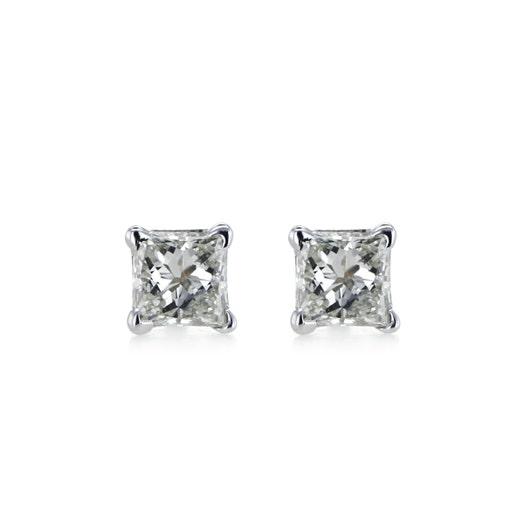 14K White Gold Princess-Cut Diamond Stud Earrings, 1/4 Carat TWT