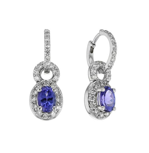 14K White Gold Tanzanite Diamond Halo Drop Earrings, TWT .99