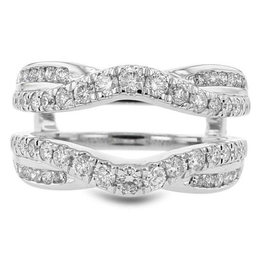 14K White Gold Diamond Cradle Ring, TWT .95