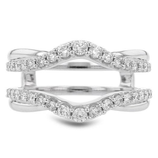 14K White Gold Diamond Cradle/Insert Ring, TWT .62