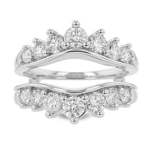 14K White Gold Diamond Cradle Ring, TWT 1.50