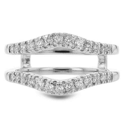 14K White Gold Diamond Cradle Ring, TWT .45