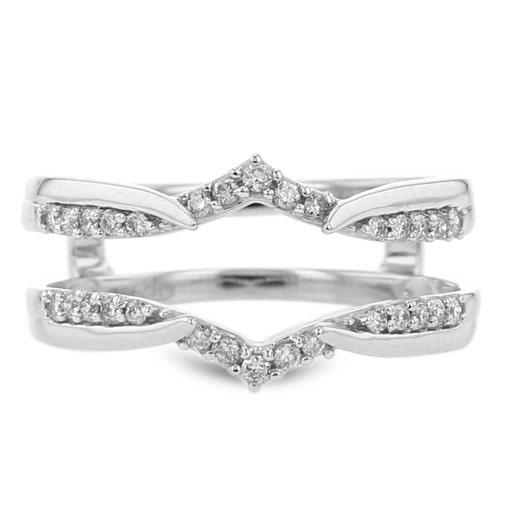 14K White Gold Diamond Insert Ring, TWT.20
