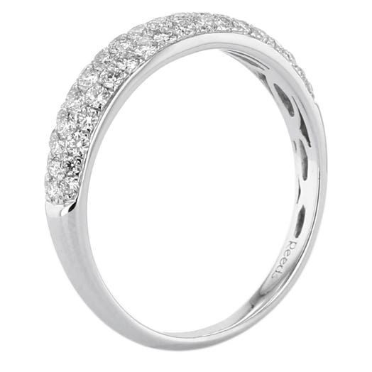 14K White Gold Three-Row Graduated Diamond Band, TWT.59
