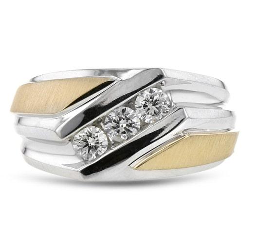 14K White & Yellow Gold Gentleman's Diamond Band Ring, TWT .25