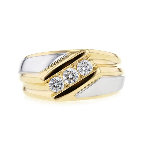 14K White & Yellow Gold Gentleman's Diamond Band Ring, TWT .50