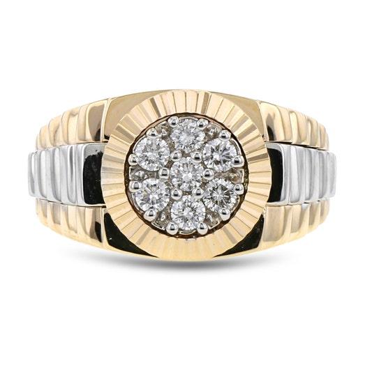14K Gold Two-Tone Men's Diamond Ring, TWT.50