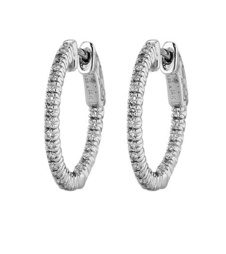 14K White Gold Inside-Out Diamond Hoop Earrings, TWT.50