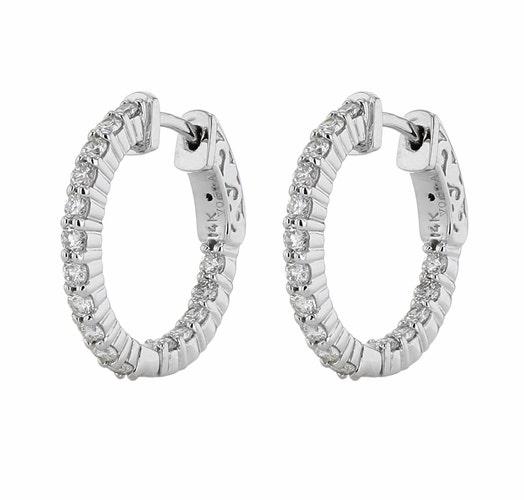 14K White Gold Inside-Out Diamond Hoop Earrings, TWT 1.00