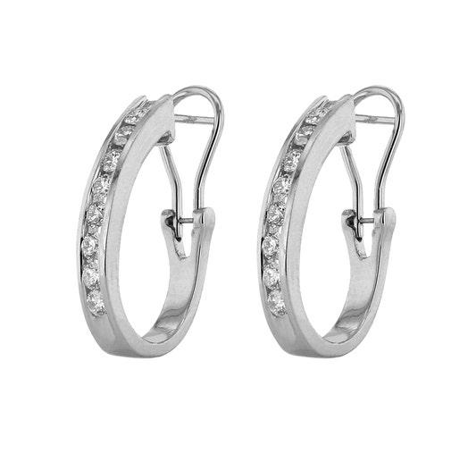 14K White Gold J Hoop Earring with Channel Set Diamonds, TWT 1.00