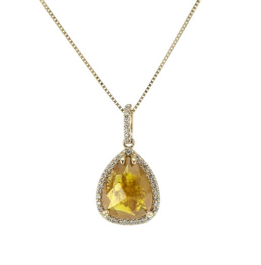 14K Yellow Gold 2.30 Carat Natural Brown Rose-Cut Diamond Pendant Necklace