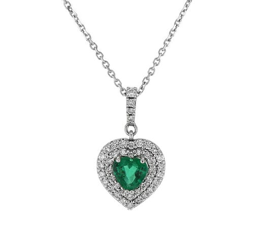 14K White Gold Double Diamond Heart Halo Emerald Pendant Necklace