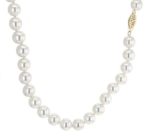 "14K Yellow Gold 18"" Akoya Pearl Necklace, 8mm - 8.5mm"