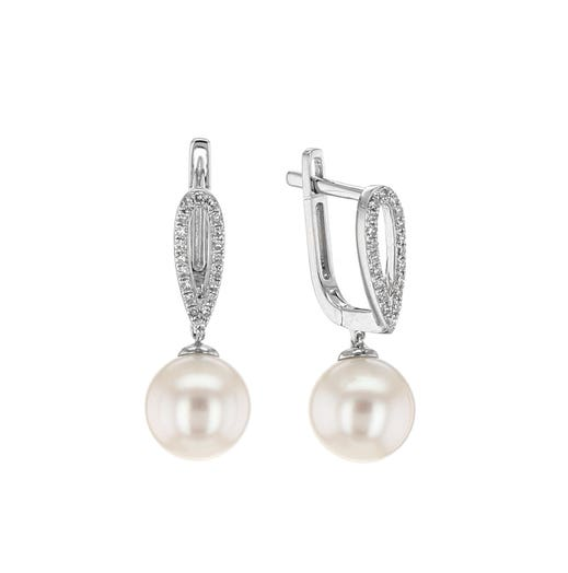14K White Gold Freshwater Pearl and Diamond Dangle Earrings, TDW.10