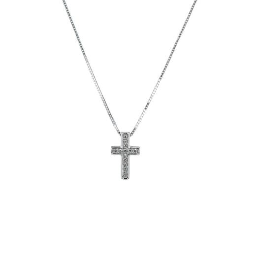 14K White Gold Cross Pendant with Diamond Accents