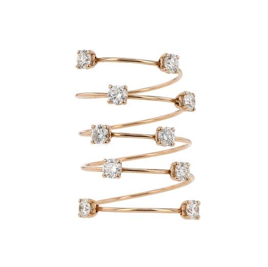 18K Rose Gold Diamond Spiral Wrap Ring, TWT 1.32