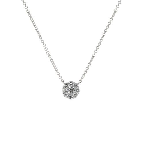 white gold necklace with round diamond surrounded in halo of white diamonds