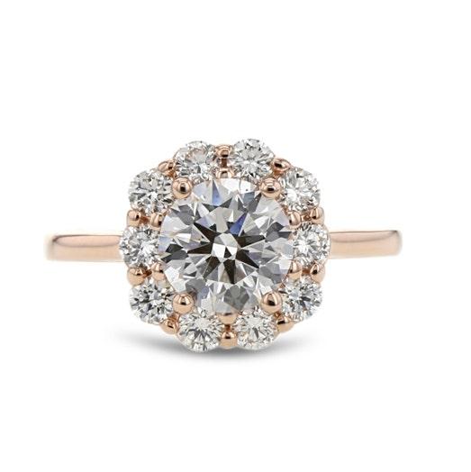 FOREVERMARK Diamond Floral Halo Engagement Ring, Round, 14K Rose Gold, 1.28CT, .56TDW