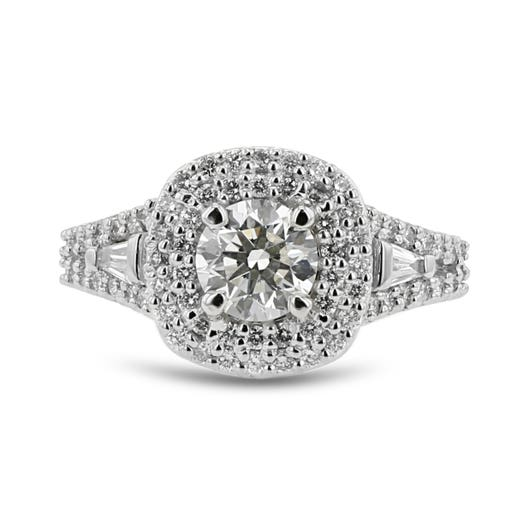FOREVERMARK Diamond Double Halo Engagement Ring, 18K White Gold, .79CT, .60TDW
