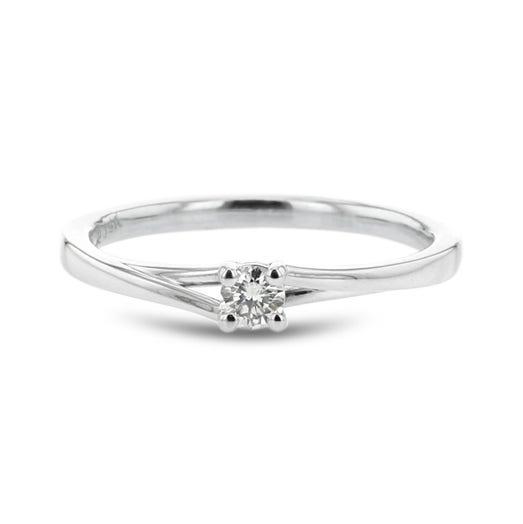 Diamond Split Shoulder Promise Ring, Round, 14K White Gold, .10CTW