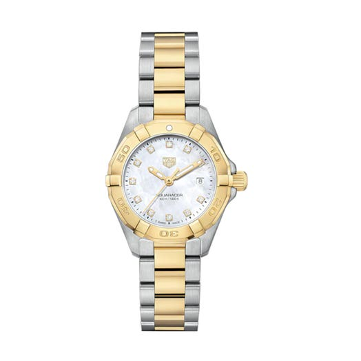 watch with two tone stainless steel and yellow gold bracelet with mother of pearl dial and diamond accents