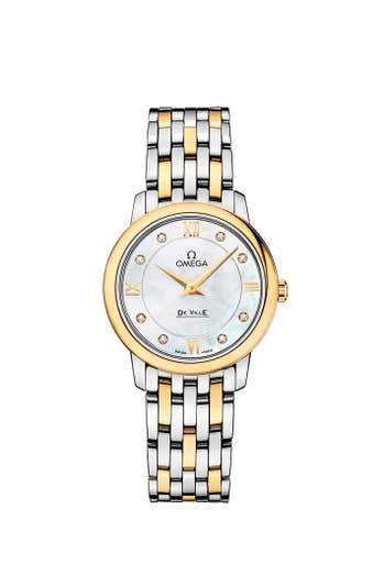 OMEGA Ladies Watch De Ville Prestige Quartz, White Mother of Pearl Dial, Diamond, 18K Yellow Gold and Stainless Steel, 27mm